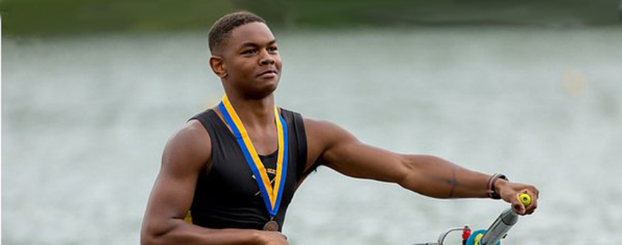 young man rowing