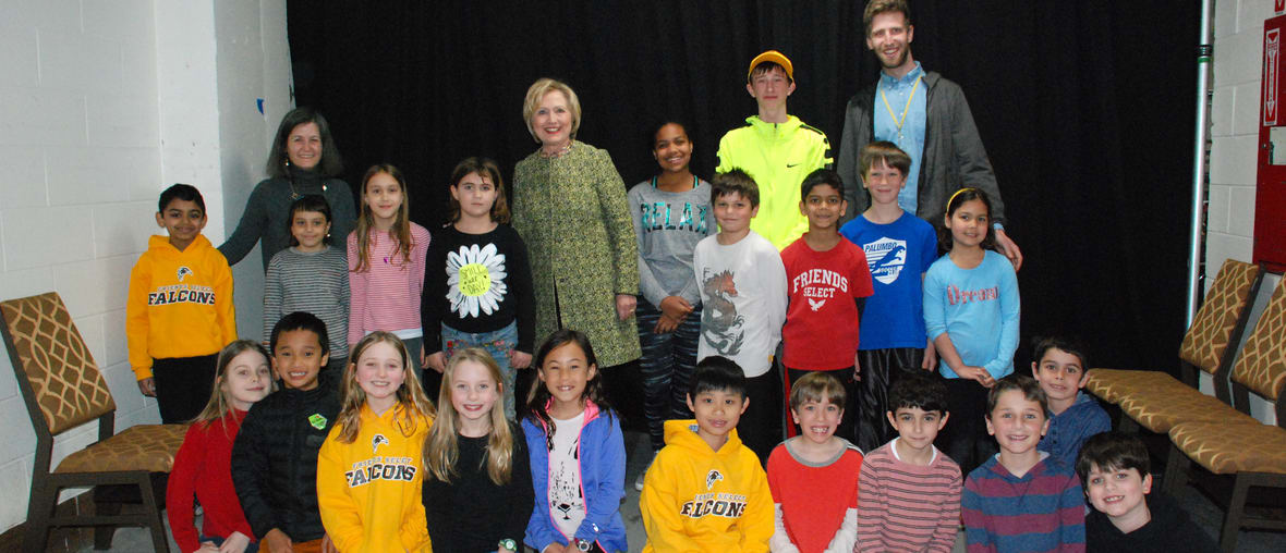 students with Hilary Clinton in history class